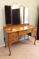 Antique Burr Walnut, Triple Mirror Shaped Dressing Table (6 of 12)