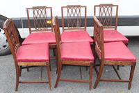 1800's Set 6 Mahogany Dining Chairs with Red Upholstery (3 of 3)