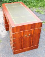 1960s Yew Wood Pedestal Desk with Green Leather Top- Military Style (4 of 5)