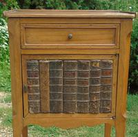 Antique French Fruitwood Bedside Cabinet Leather Book Fronts (2 of 8)