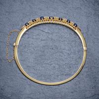 Antique Victorian Sapphire Diamond Bangle 18ct Gold 5.46ct Of Natural Sapphire With Cert (5 of 7)