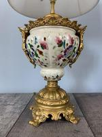 Victorian Gilded Spelter & Ceramic Table Lamp, Rewired & Pat Tested, Shade Included (9 of 10)