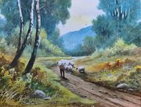 Near Darley Dale 19thc Derbyshire Sheppard Sheep  Landscape Watercolour Painting (8 of 13)