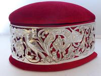 Large 1902 Hallmarked Silver Love Heart Ring Earring Jewellery Box (4 of 10)