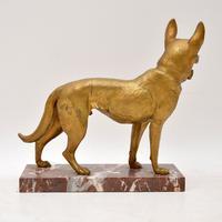 Large Antique Gilt Bronze Dog Sculpture by Robert  Bousquet (5 of 9)