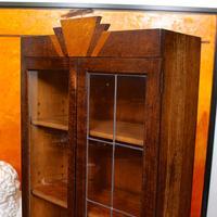 Art Deco Oak Glazed Bookcase (8 of 11)