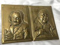 Pair Architectural Scottish Victorian Gilt Bronze Pipe Smoker Gentleman & Lady Wall Plaques (5 of 20)