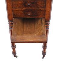 Victorian 19th Century Burr Walnut Drop Leaf Work Table c.1880 (4 of 8)