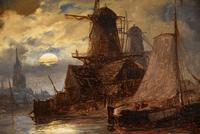 "Oil Painting Richard Henry Nibbs ""Moonlight at Arnheim"" (5 of 5)"