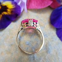 Art Deco 18ct Gold Synthetic Pink Sapphire Cocktail Ring (4 of 8)