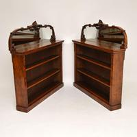 Pair of Antique Victorian Burr Walnut Mirrored Bookcases (5 of 13)