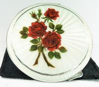 Solid Silver Handbag Mirror Red Roses 1955 (8 of 8)