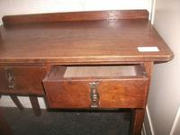 Small Two Drawer Oak Writing Desk (2 of 2)