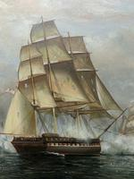 Large Fine Marine Oil Painting Napoleonic French Sea Battle Trafalgar Ships Off Coast (4 of 13)