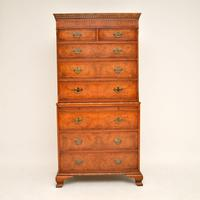 Antique Burr Elm Chest on Chest of Drawers (3 of 10)