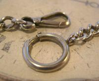 Antique Pocket Watch Chain 1890s Victorian Large Silver Nickel Graduated Link Albert (7 of 10)