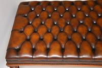 Large Antique Victorian Style Leather & Mahogany Stool / Coffee Table (4 of 8)