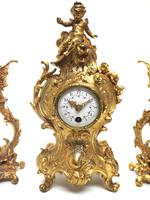 Antique 8 Day Ormolu Mantel Clock Set Cherubs At Play 8 Day Mantle Clock (2 of 11)