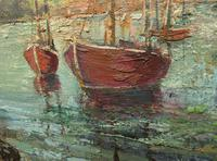 Large Framed Oil Painting of Boats at Totnes by Dorothy Bradshaw (7 of 13)