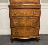 Bow Front Burr Walnut Chest on Chest of Drawers (3 of 13)