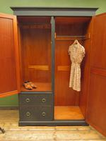Antique Black Painted Double Wardrobe with Mirror in 4 Parts, Gothic Shabby Chic (12 of 17)