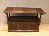 Late Victorian Solid Carved Oak Monks Bench (3 of 12)