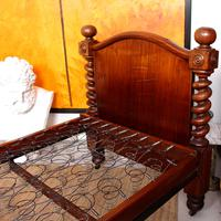 Bed Frame Edwardian Carved Mahogany Barley Twist (10 of 11)