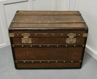 Large Tan Canvas, Wood, Leather & Brass Bound Steamer Trunk (5 of 9)