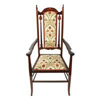 Art Nouveau Inlaid Mahogany Armchair (2 of 8)