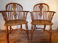 Matched Pair of Yew Windsor Chairs (12 of 13)