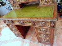 Country Oak Lions Head Pedestal Desk 1860 (6 of 12)