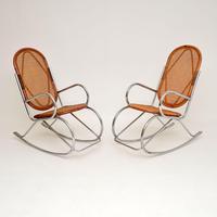 1970's Pair of Retro  Chrome & Bamboo Rocking Chairs (2 of 13)