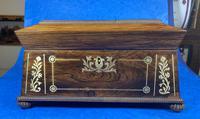 Regency Rosewood Brass Foliate Inlaid Tea Caddy (2 of 15)