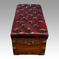 Victorian Leather Camphor Wood Ottoman (5 of 10)