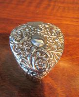 Antique Silver Heart Shaped Trinket Box (2 of 7)