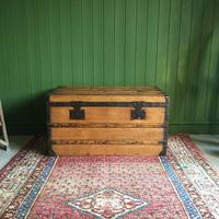 Antique French Steamer Trunk Coffee Table Old Rustic Chest and Key + Original Interior (3 of 12)