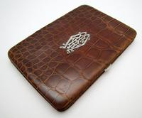 Antique Edwardian Solid Sterling Silver Mounted Crocodile Skin Leather Wallet Purse Card Stamp Case c.1910 (3 of 9)