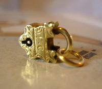 Victorian Pocket Watch Chain Fob 1890s Dainty Antique Gilt Miniature Padlock Fob (3 of 9)