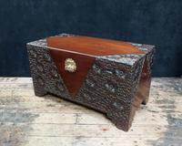 Early 20th Century Oriental Carved Teak & Camphor Wood Chest