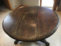 Stunning Antique French Walnut Carved Griffin Circular Dining Table c.1840 (6 of 12)