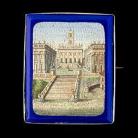 Antique Victorian Micro Mosaic Brooch 18ct Gold c.1860 Boxed