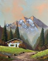 The Alpine Chalet - Swiss School - A Vintage Snow-capped Landscape Oil Painting (3 of 12)