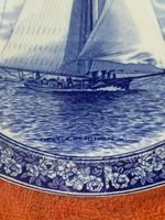 """1901 Wedgwood Etruria Queensware """"The Intrepid"""" Boat Plate (10 of 10)"""