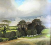 Original Oil on Board 'Sheep in a Meadow' by Peter Gardner. B.1921. Signed & Dated 1971 Verso (2 of 3)