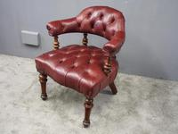 Victorian Walnut and Leather Office Chair (4 of 10)