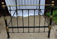 1900's Quality Brass and Iron Black Bed Frame - Check sizes. No Base (4 of 4)
