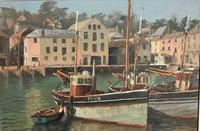 Attractive Oil Painting 'Mevagissey Harbour Cornwal' by Nancy Bailey c.1970 (2 of 2)
