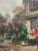 ''Before The Hunt'' Wonderful Large Vintage 18th Century Style Print on Board Picture (5 of 12)