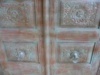 Handmade Indian Mango & Teak Large Painted Green 2 Door Storage Cupboard (8 of 12)