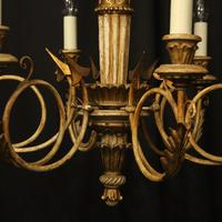 French Giltwood Polychrome 6 Light Chandelier (9 of 10)